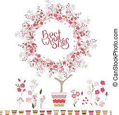 Stylized tree in cute flower pot. Topiary with roses and...