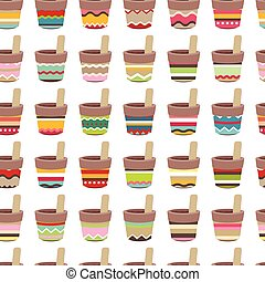 Seamless pattern with cute striped flower pots Endless...