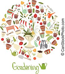 Round template with gardening tools, flower pots and...