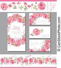Floral spring templates with cute red roses. Endless...