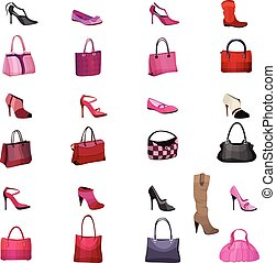Set with womans bags and shoes isolated on white background....