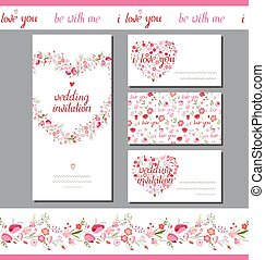 Floral spring templates with cute bunches of red flowers...