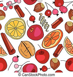 Stylized seamless pattern with spice and fruits. Endless...