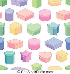 Seamless pattern with different gift boxes. For festive design.