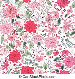 Floral spring template with abstract flowers