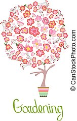 Stylized tree in cute flower pot. Topiary with different flowers;