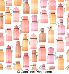 Seamless pattern with small vintage bottles. Endless texture...