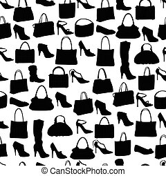 Seamless pattern with womans bags and shoes Endless texture...