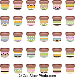 Cute striped flower pots isolated on white.