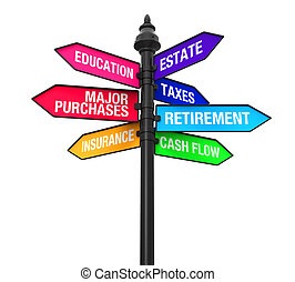 Direction Sign of Personal Finance - Direction Sign of...