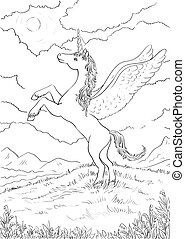Hand drawn magic Unicorn Coloring page with high details...