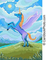 Unicorn illustration Blue unicorn in the night of the...