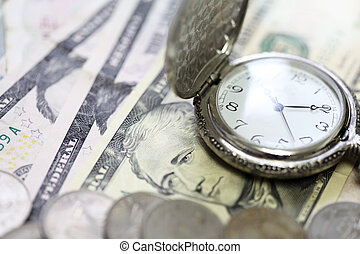 Time is money watch clock on bank note - Time is money watch...