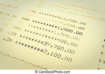Book bank statement account - Selective focus point on Book...
