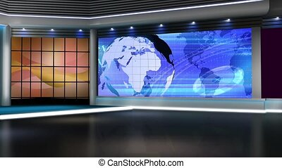 News TV Studio Set - - News TV Studio Set 144-Virtual Green...