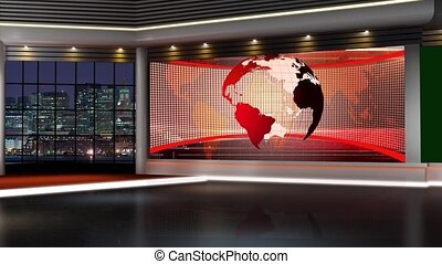 News TV Studio Set - - News TV Studio Set 145-Virtual Green...