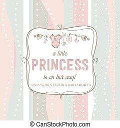 shabby chic baby girl shower card, vector illustration