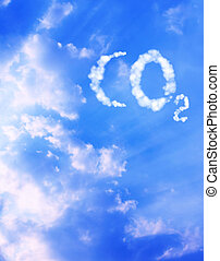 Symbol CO2 from clouds - Collage - symbol CO2 from clouds
