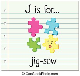 Flashcard letter J is for jig-saw illustration
