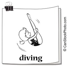 Doodle of girl doing diving
