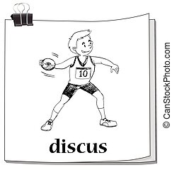 Doodle of man doing discus