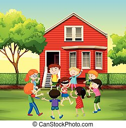 Children playing game in the yard illustration