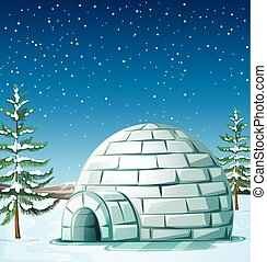 Scene with igloo on snowing day illustration