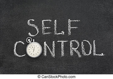 self control phrase handwritten on chalkboard with vintage...