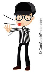 Referee blowing red whistle illustration