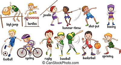 Men and women doing different sports illustration