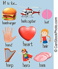 Many words begin with letter H illustration
