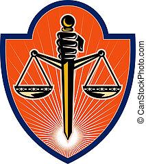 ensemble, Épée, BALANCES, justice, intérieur, main, tenue,...