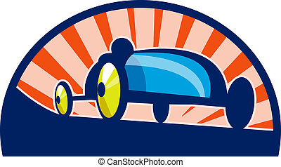 Soap box derby car racing with sunburst in the background. -...