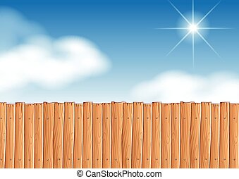 Scene with wooden fence at daytime illustration