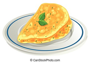 Omelette on the plate illustration