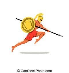 Vector Spartan Warrior Cartoon Illustration. - Gladiator in...