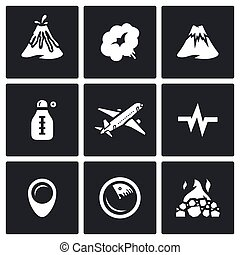 Vector Set of Volcano Icons. Eruption, Smoke, Hill,...