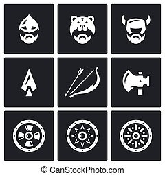 Vector Set of Viking Weapons Icons - North Warriors and...