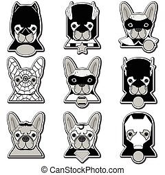 French bulldog heroes in label style