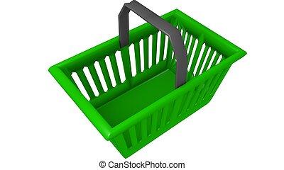 hand held shopping basket in a 3D Illustration - hand basket...
