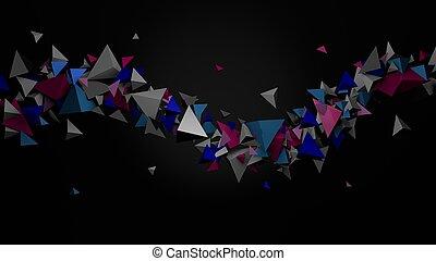Extracto, colorido, Tetraedros, en, Un, 3D, Ilustración,