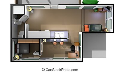 stylized home interior in a 3D Illustration