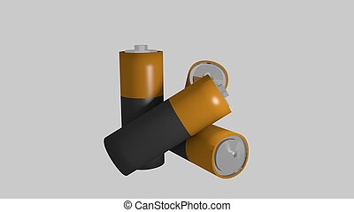 AA sized batteries in a 3D Illustration