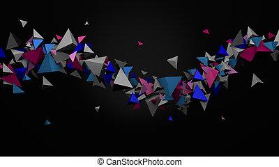 Extracto, colorido, Tetraedros, en, Un, 3D,...