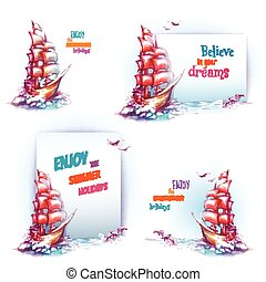 Vector travel banner set with ship in ocean