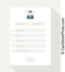 registration form - Web registration form, flat design...