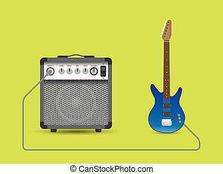Guitar and combo - Electric guitar and combo, vector...