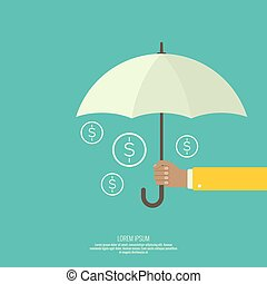 Male hand holding an umbrella. Protection of money, personal...
