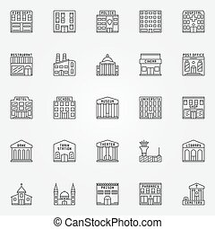 Building line vector icons - Building line icons - vector...