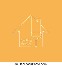 Abstract background with paint roller. - Vector icon with...